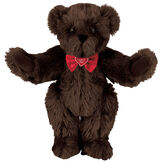 """15"""" """"I Love You"""" Bow Tie Bear - Standing jointed bear dressed in red satin bow tie; """"I Love You""""  is embroidered on red satin heart center - long Espresso brown fur image number 6"""