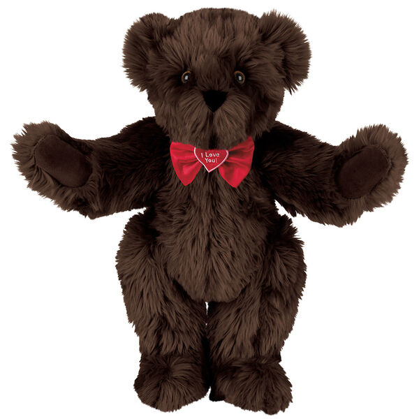 """15"""" """"I Love You"""" Bow Tie Bear - Standing jointed bear dressed in red satin bow tie; """"I Love You""""  is embroidered on red satin heart center - long Espresso brown fur image number 7"""