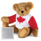 """15"""" Maple Leaf Sweater Bear - Three quarter view of seated jointed bear dressed in white knit sweater with red maple leaf on front and red sleeves  - Gray image number 6"""