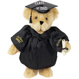 """15"""" Graduation Bear in Black Gown - Front view of standing jointed bear dressed in black satin graduation gown and cap and holding a rolled up diploma personalized """"Jackson 2021"""" on right sleeve and """"Syracuse"""" on left in gold - Maple image number 6"""