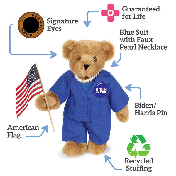 "15"" Kamala Harris Bear - Standing Honey Bear with brown eyes, blue suit with text that says,""Guaranteed for Life; Blue Suit with Faux Pearl Necklace; Biden/Harris Pin; Recycled Stuffing; American Flag; Signature Eyes."" image number 2"