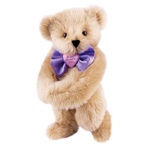 """15"""" Happy Mother's Day Bow Tie Bear - Standing jointed bear dressed in purple satin tie; """"Happy Mother's Day"""" is embroidered on pink satin heart center - long Maple brown fur image number 6"""