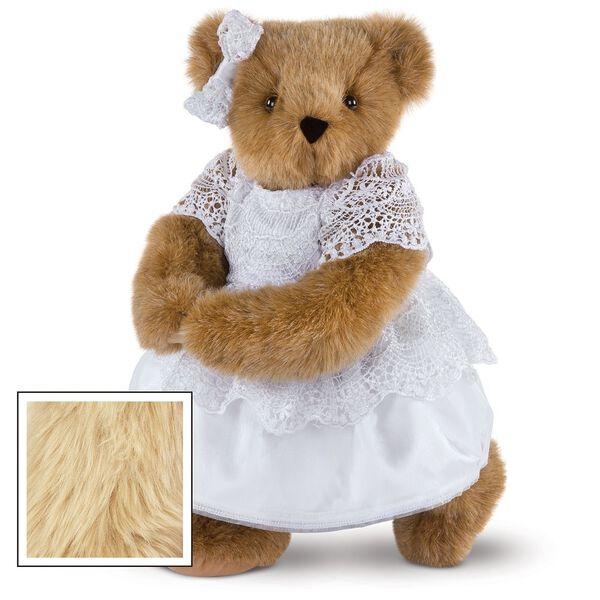 """15"""" Special Occasion Girl Bear - Three quarter view of standing jointed bear dressed in a white satin dress and hair bow with white lace trim - Maple brown fur image number 4"""