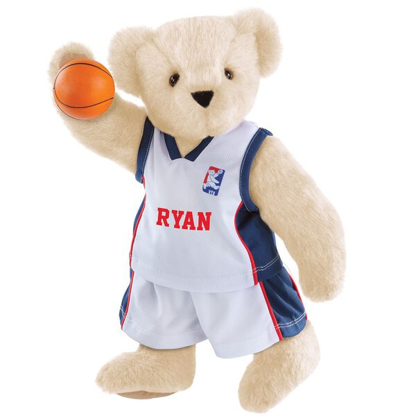 "15"" Basketball Bear - Standing jointed bear dressed in white jersey and shorts with blue and red trim. Bear comes with orange basketball. Center front of shirt is personalized with ""Ryan"" in red lettering - Buttercream brown fur image number 1"