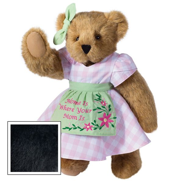 """15"""" Home Is Where Your Mom Is Bear - Front view of standing jointed bear wearing a pink gingham dress, green bow and apron with floral embroidery and says """"Home is Where Your Mom Is"""" - Black fur image number 4"""