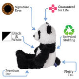 "18"" Oh So Soft Panda Bear - Side view of seated black and white 18"" Panda Bear with tail text reads ""Signature Eyes; Guaranteed For Life; Fluffy Tail; Premium Fur; Recycled Stuffing; Black and White"".  image number 1"