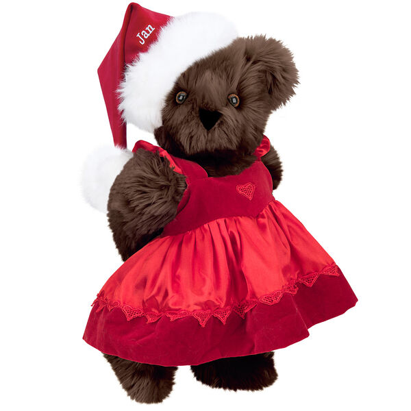 """15"""" Christmas Sweetheart Bear - Standing jointed bear dressed in white red velvet dress with heart lace trim and red velvet santa hat with white fur trim. Hat is personalized with """"Jan"""" above the fur  - Espresso brown fur image number 5"""