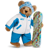 """15"""" Snowboarder Bear - Front view of standing jointed bear dressed in a blue and white snow jacket, blue pants, and holding a snowboard with graphics. Jacket is personalized with """"Jason"""" on the left chest - Honey brown fur image number 0"""