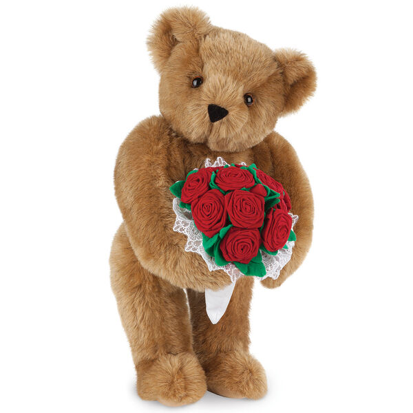 "15"" Red Rose Bouquet Bear - Front view of standing jointed bear holding a large red bouquet wrapped in white satin and lace - Honey brown fur"
