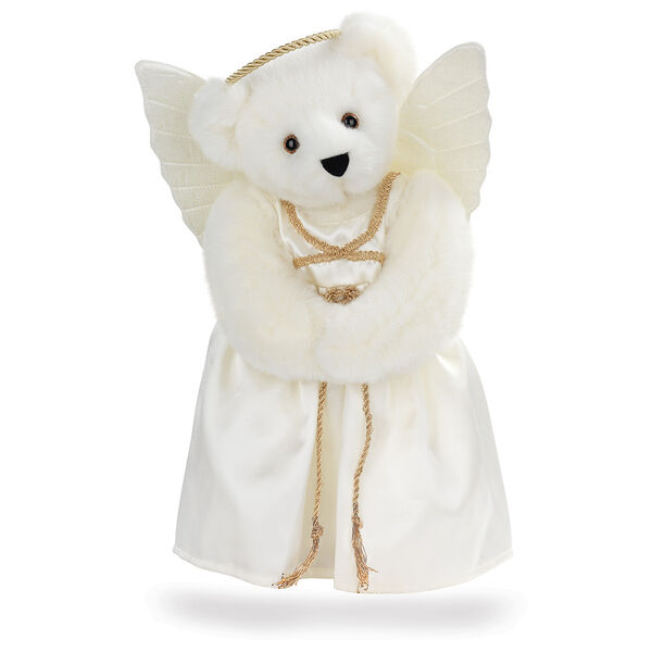 "15"" Angel Bear - Standing jointed bear in a ivory satin dress with satin angel wings and gold metallic halo - Vanilla white fur image number 2"