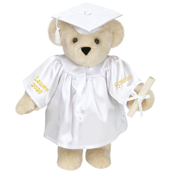 """15"""" Graduation Bear in White Gown - Front view of standing jointed bear dressed in black satin graduation gown and cap and holding a rolled up diplomapersonalized """"Jackson 2020"""" on right sleeve and """"Syracuse"""" on left in gold - Buttercream brown fur image number 1"""