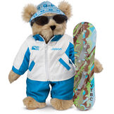"15"" Snowboarder Bear - Front view of standing jointed bear dressed in a blue and white snow jacket, blue pants, sunglasses and holding a snowboard with graphics. Jacket is personalized with ""Jason"" on the left chest - Maple brown fur image number 3"