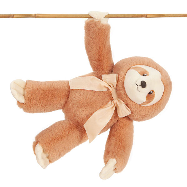 """13"""" Cuddle Cub Sloth with Bow - Front of hanging golden brown sloth with tan muzzle and velvet bow image number 3"""