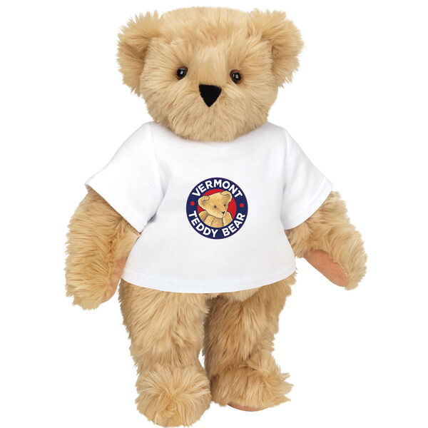 "15"" Classic Vermont Teddy Bear Logo T-Shirt Bear - Front view of standing jointed bear dressed in white t-shirt with Vermont Teddy logo on front - Maple brown fur image number 3"