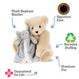 "15"" Cuddle Buddies Gift Set with Elephant Blanket - 15"" jointed seated bear with gray elephant blanket, text says, ""Guaranteed for Life; Plush elephant blanket; Signature eyes; Recycled Stuffing; Premium fur."" image number 8"