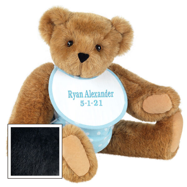 """15"""" Baby Boy Bear - Seated jointed bear dressed in light blue with white dots fabric diaper and bib. Bib with """"Ryan Alexander"""" and """"5-1-21"""" in light blue lettering - Black fur image number 5"""