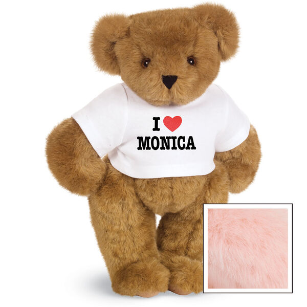 """15"""" """"I HEART You"""" Personalized T-Shirt Bear - Standing Jointed Bear in white t-shirt that says I """"Heart"""" You in black and red lettering - Pink fur image number 6"""