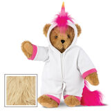 "15"" Unicorn Hoodie Bear - Front view of standing jointed bear dressed in a white fleece hoodie footie with rainbow horn, a hot pink cuffs and fur mane and tail - Maple brown fur image number 5"