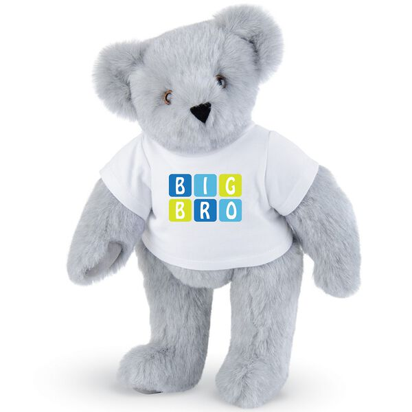 """15"""" BIG BRO T-Shirt Bear - Standing jointed bear dressed in white t-shirt with blue and green graphic that says, """"Big Bro' - Gray fur image number 4"""