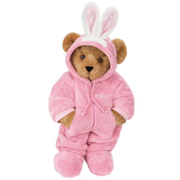 """15"""" Hoodie-Footie Bunny Bear - Front view of standing jointed bear dressed in pink hoodie footie and bunny ears personalized with """"Emily"""" in white on left chest - Honey brown fur image number 0"""