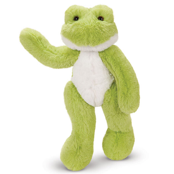 """15"""" Buddy Frog - Front view of standing waving plush green slim frog with white belly image number 9"""