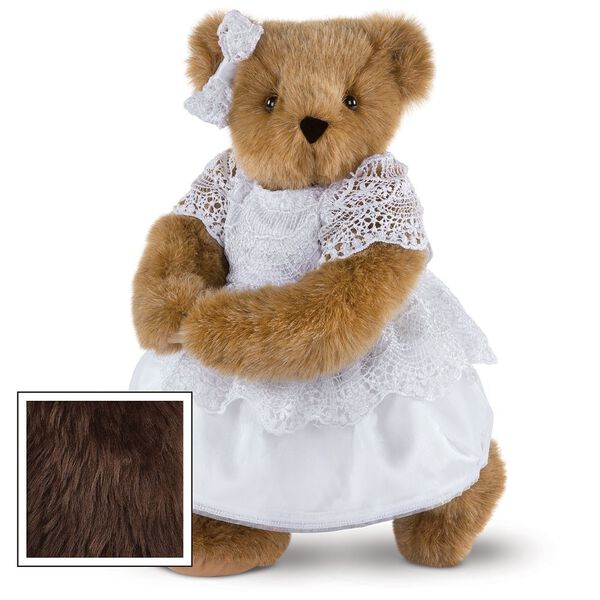 """15"""" Special Occasion Girl Bear - Three quarter view of standing jointed bear dressed in a white satin dress and hair bow with white lace trim - Espresso brown fur image number 5"""