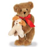"""15"""" Puppy Love Bear - 15"""" Standing Bear wearing a red satin bow and comes with plush puppy image number 3"""