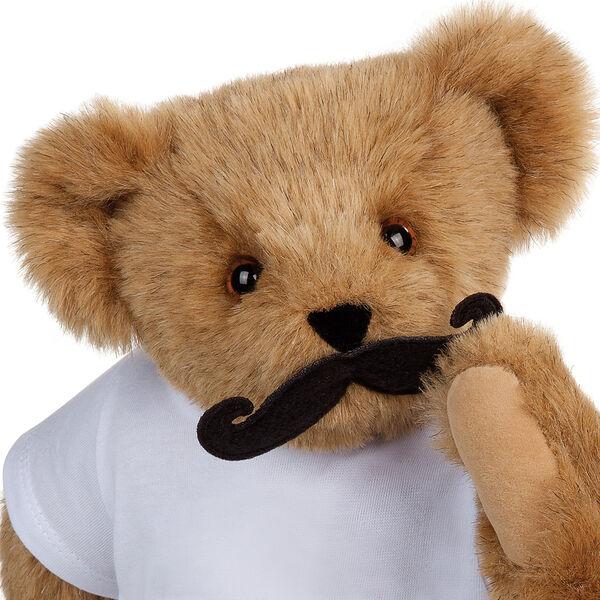 "Black felt handlebar mustache on 15"" jointed bear image number 0"