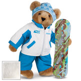 """15"""" Snowboarder Bear - Front view of standing jointed bear dressed in a blue and white snow jacket, blue pants, and holding a snowboard with graphics. Jacket is personalized with """"Jason"""" on the left chest - Vanilla white fur image number 2"""