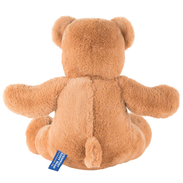 """18"""" Pocket Pal Bear - Back view of seated 18"""" ginger brown bear with pocket on the left chest and hidden pocket in the back image number 4"""
