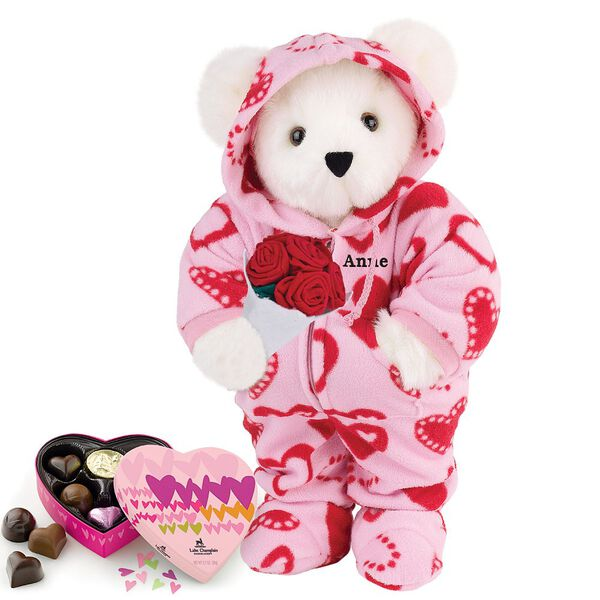 """15"""" Sweetheart Hoodie-Footie Bear with Red Roses and Chocolates - Standing jointed bear dressed in pink and red heart hoodie footie with rose bouquet and 6 pc. chocolates. Personalized with """"Anne"""" in black on left chest - Vanilla white fur image number 2"""