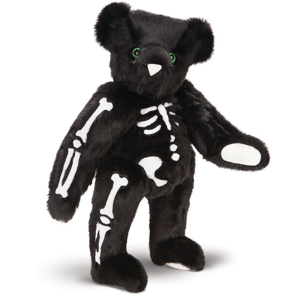"""15"""" Skeleton Bear -  Standing 3/4 view of jointed black bear with glow in the dark eyes and bones white nose and white pads.  image number 4"""