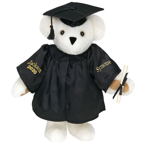 """15"""" Graduation Bear in Black Gown - Front view of standing jointed bear dressed in black satin graduation gown and cap and holding a rolled up diplomapersonalized """"Jackson 2020"""" on right sleeve and """"Syracuse"""" on left in gold - Vanilla white fur image number 2"""