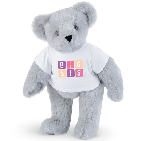 "15"" BIG SIS T-Shirt Bear - Standing jointed bear dressed in white t-shirt with pink and purple graphic that says, ""BIG SIS' - Gray fur image number 4"