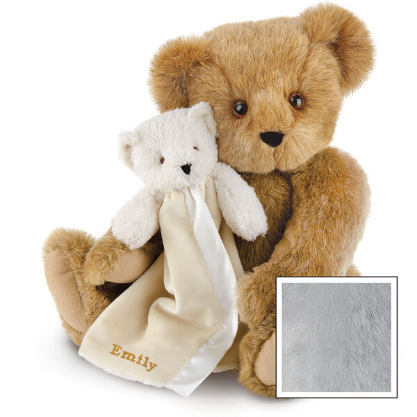 "15"" Cuddle Buddies Gift Set - Front view of seated jointed bear with ivory bear blanket with stroller strap personalized with ""Emily"" in gold lettering on corner of blanket - Gray fur image number 4"