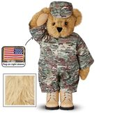 """15"""" Camouflage Bear - Front view of Standing jointed beardressed in a digital camoflage military outfit with American flag on the bear's right sleevewith """"Kennedy"""" personalized on the left chest - Maple brown fur image number 4"""