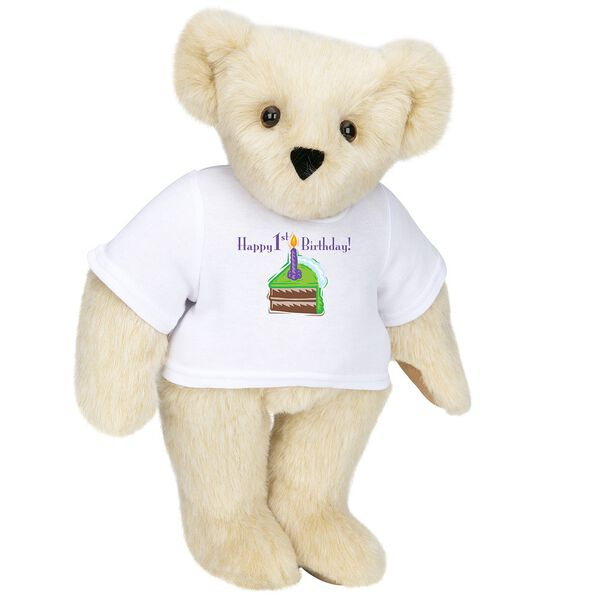 """15"""" 1st Birthday T-Shirt Bear-Chocolate Cake - Standing jointed bear dressed in a white t-shirt with a slice of chocolate cake artwork that says, """"Happy 1st Birthday!"""" on the front of the shirt - Buttercream brown fur image number 1"""