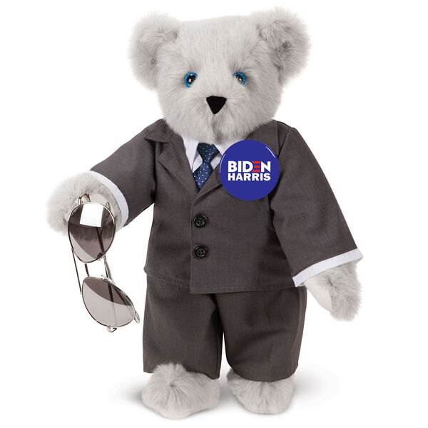 """15"""" Joe Biden Bear - Standing Gray Bear with Blue eyes, gray suit, blue tie, aviator glasses, and campaign pin image number 0"""