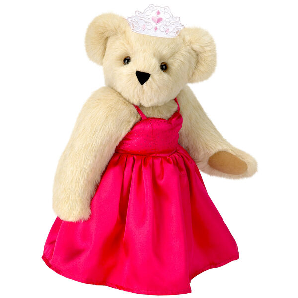 """15"""" Birthday Girl Bear - Standing jointed bear dressed in hot pink satin dress and bejeweled tiara - Buttercream brown fur image number 1"""