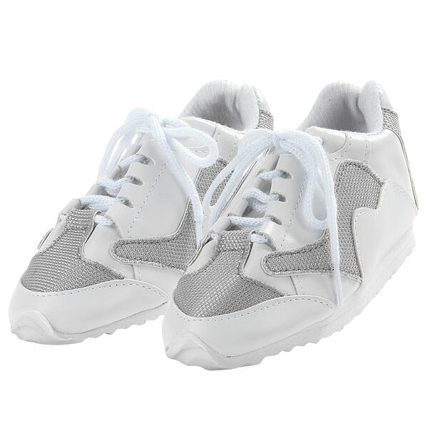 """15"""" sneakers - white and silver running shoes with white laces image number 0"""