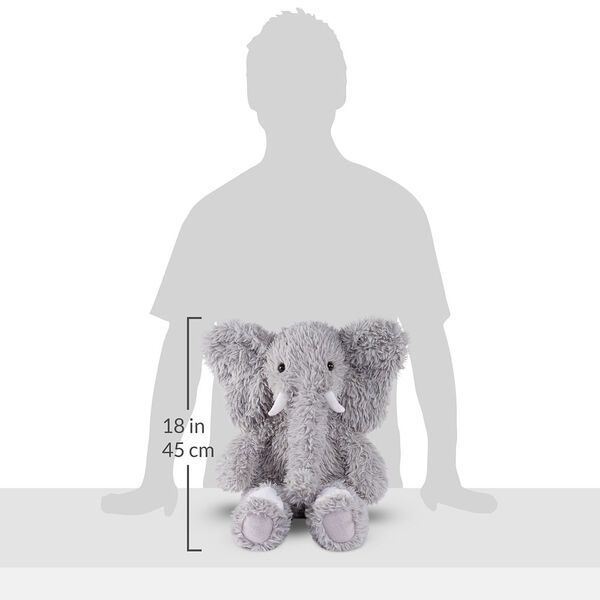 """18"""" Oh So Soft Elephant - Front view of seated gray Elephant with gray foot pads and white tusks and toe nailsmeasuring 18 in or 41 cm tall when standing image number 5"""