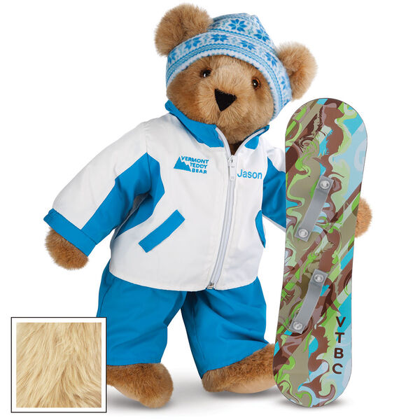 """15"""" Snowboarder Bear - Front view of standing jointed bear dressed in a blue and white snow jacket, blue pants, and holding a snowboard with graphics. Jacket is personalized with """"Jason"""" on the left chest - Maple image number 6"""