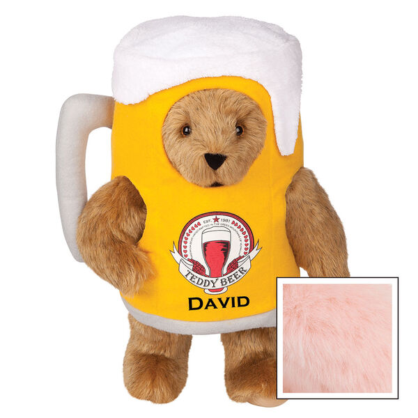 """15"""" Cheers to You Bear - Standing jointed bear dressed in gold and white beer mug costume with Vermont Teddy Bear beer bottle graphic that says """"Teddy Beer"""". Personalized with David below graphic in black lettering - Pink image number 5"""