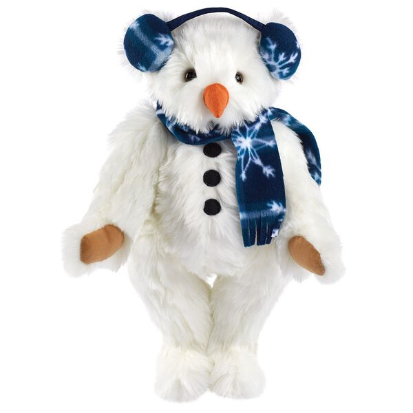 """15"""" Frosty the SnowBear  - Front view of standing jointed bear in snow white fur with coal button embroidery on the belly, blue eyes, and dressed in blue snowflake fleece scarf and earmuffs and carrot nose.  image number 0"""
