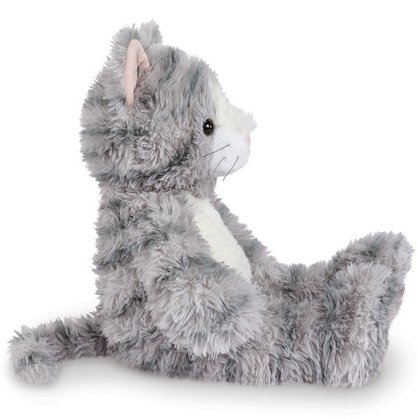 "18"" Oh So Soft Kitten - Side view of seated 18"" gray striped kitten with white muzzle, belly and foot pads  image number 5"