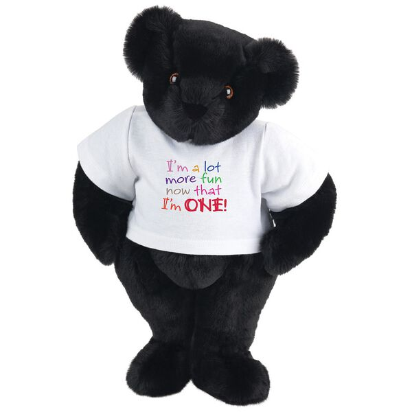 """15"""" Fun at One T-Shirt Bear - Front view of standing jointed bear dressed in white t-shirt with multi-colored graphic that says, """"I'm a lot more fun now that I am one!"""" - Black fur image number 3"""