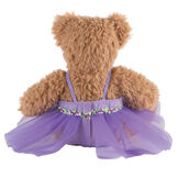 """13"""" Super Soft Ballerina Bear - Back view of seated Almond Brown Bear in purple ballerina dress with floral trim.  image number 4"""