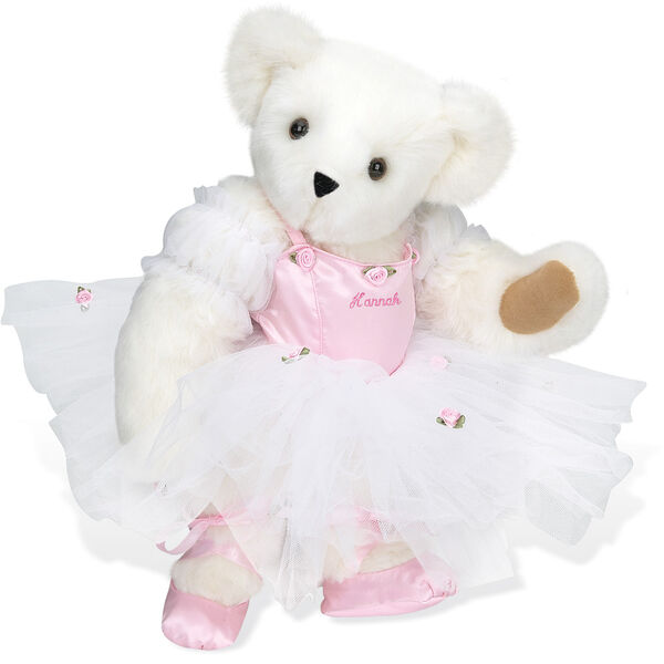 """15"""" Ballerina Bear - Standing jointed bear dressed in pink satin and tulle dress and ballet slippers. Center front of dress is personalized with """"Hannah"""" in bright pink lettering - Vanilla white fur image number 2"""