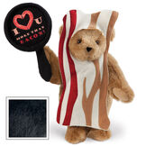"""15"""" I Love You More than Bacon - Front view of standing jointed bear dressed in tan bacon costume holding a pan that says""""I """"heart"""" U more than bacon!"""" - Black fur image number 3"""
