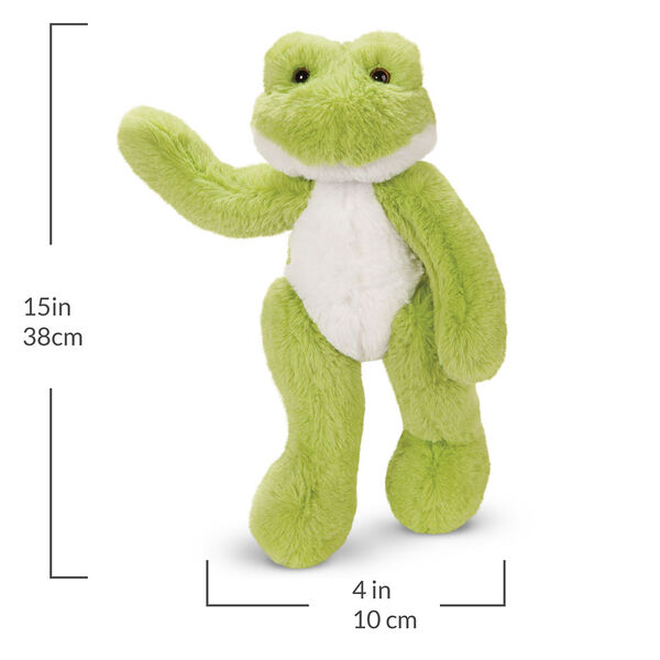 """15"""" Buddy Frog - Front view of standing waving plush green slim frog with measurements that read, """"15 in or 38 cm tall and 4 in or 10 cm wide."""" image number 3"""